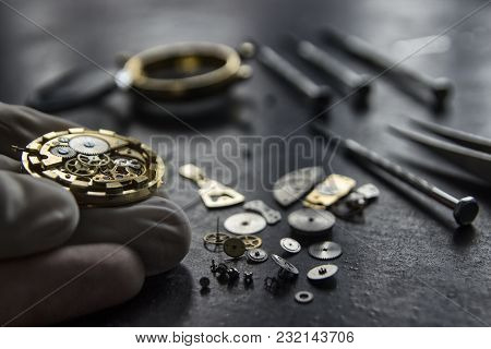 Process Of Installing A Part On A Mechanical Watch, Watch Repair