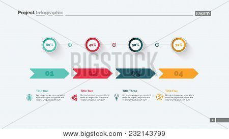 Four Options Percentage Chart Slide Template. Business Data. Comparison, Diagram, Design. Creative C