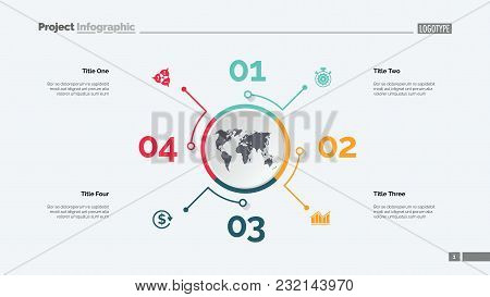 Four Options Process Chart Slide Template. Business Data. Step, Diagram, Design. Creative Concept Fo