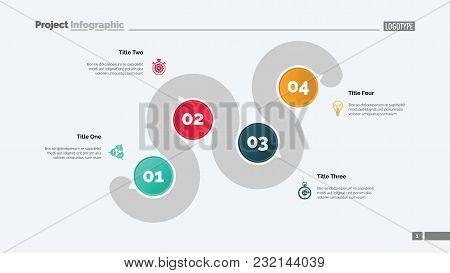 Four Points Process Chart Slide Template. Business Data. Point, Infochart, Design. Creative Concept