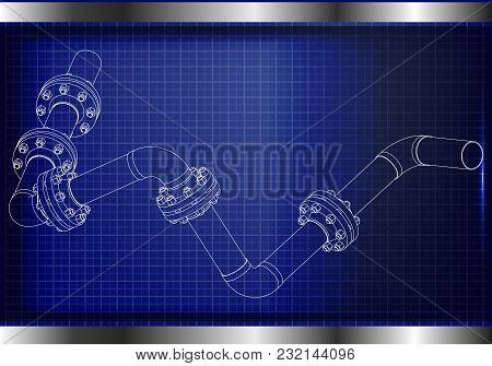 3d Model Of An Pipeline On A Blue Background. Drawing
