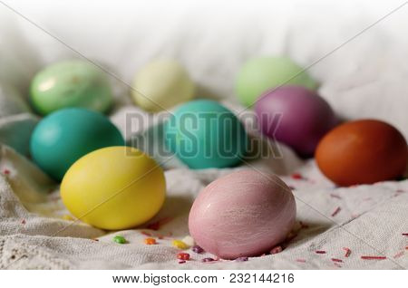 Easter Background With Traditional Colored Eggs On A Rural Table. Hipster Background For Orthodox An