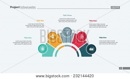Process Chart With Five Elements. Step Diagram, Pie Chart, Layout. Creative Concept For Infographics