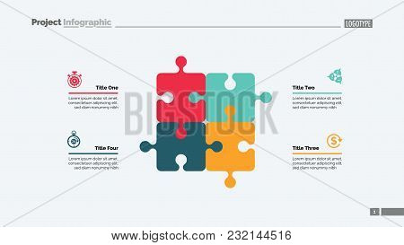 Puzzle Diagram With Four Elements. Cycle Chart, Graph, Layout. Creative Concept For Infographics, Pr