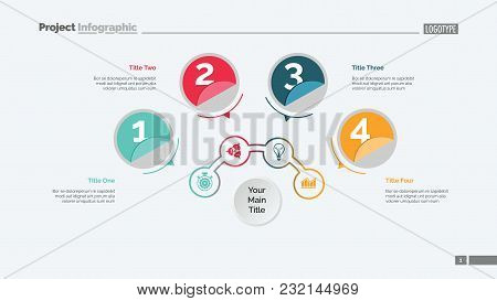 Four Circles Process Chart Slide Template. Business Data. Structure, Diagram, Design. Creative Conce