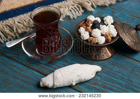Biscuits With Walnuts And Powdered Sugar, Oriental Sweets Mutaki On Rustic Wooden Table With Traditi
