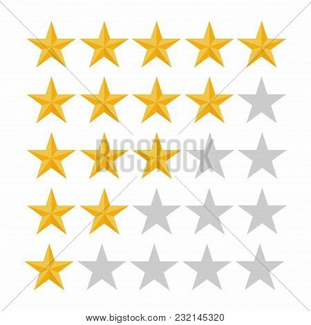 Five Rating Star. Customer Review, Rating, Quality And Level Concept. Vector