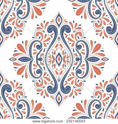 Beautiful Blue And Orange Floral Seamless Pattern. Vintage, Paisley Elements. Traditional, Ethnic, T