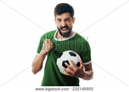 Fan Or Sport Player On Green Uniform Celebrating On White Background