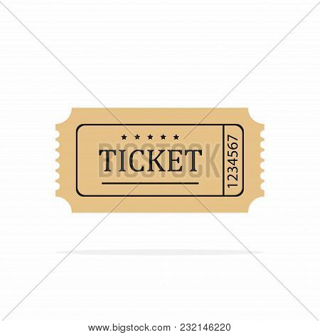 Retro Ticket Template. Old Or Vintage Paper Ticket On White Background. Vector