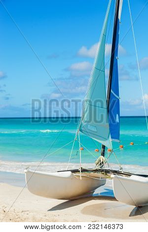 Catamaran On The Tropical Beach, Cuba, Varadero