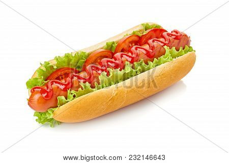 Hot Dog With Lettuce And Tomato Isolated On White