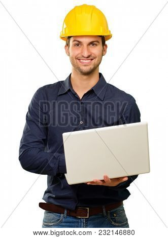 Happy Architect Holding Laptop On White Background