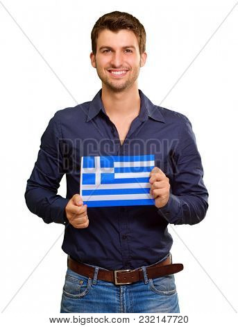 Young Man Holding Greece Flag On White Background
