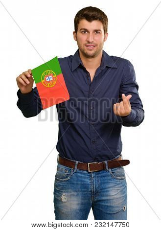 Young Man Holding Portugal Flag Gesturing On White Background