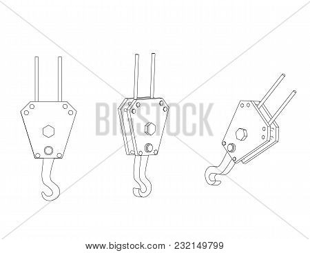 3d Model Of A Crane Hook On A White Background. Drawing