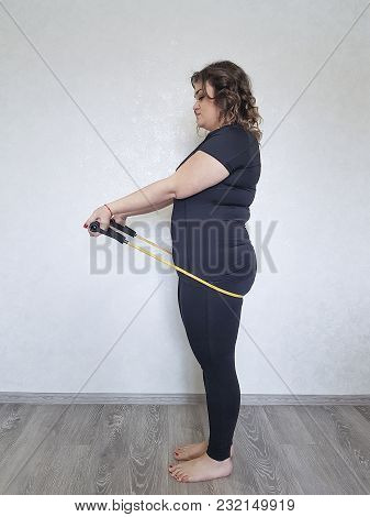 Full Girl Playing Sports At Home Stretch, Thick, Posing, Pilates Pose, Fatty