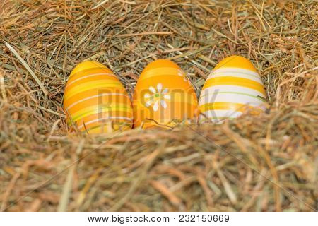 Easternest Basket Tradition Red Hidden Easter Eggs To Search. Traditional Easter Holiday Festival Ce