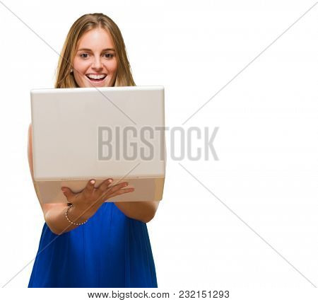 Blonde Woman Holding Laptop against a white background