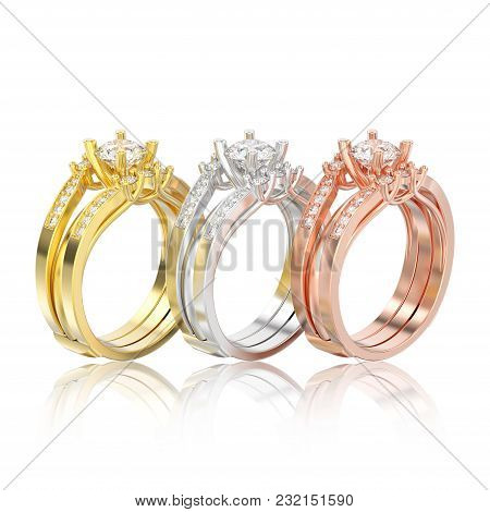 3d Illustration Three Isolated Different Gold Two Shanks Decorative Diamond Rings With Reflection On