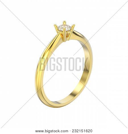 3d Illustration Isolated Yellow Gold Traditional Solitaire Engagement Diamond Ring On A White Backgr