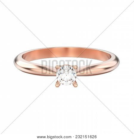 3d Illustration Isolated Rose Gold Traditional Solitaire Engagement Diamond Ring On A White Backgrou