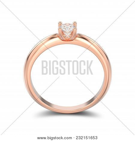 3d Illustration Isolated Rose Gold Traditional Solitaire Engagement Diamond Ring With Shadow On A Wh