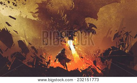 Fantasy Scene Showing The Young Boy Running Away From The Fire Dragon, Digital Art Style, Illustrati