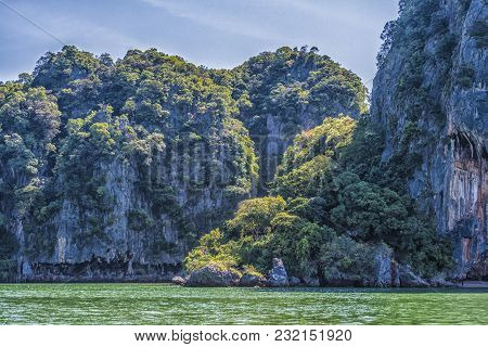 View Of The Coasts And Vegetation Of The Islands Of Phang Nga Bay Andaman Sea Thailand