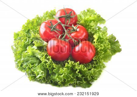 Fresh Assorted Vegetables With Leaf Lettuce. Isolated On White Background. Selective Focus