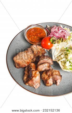 Grilled Meat With Garnish Of Vegetables