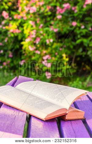 Open Book On A Lilac Wooden Bench In The Spring Garden At Sunset On The Background Of Blooming Weige