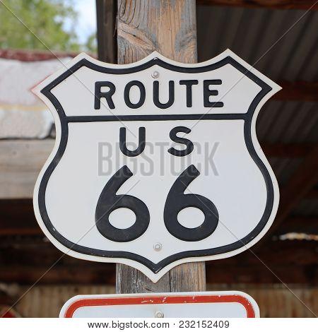 Historic Route 66 Signpost In Hackberry. Arizona. Usa