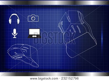 3d Model Of A Mouse On A Blue Background. Drawing