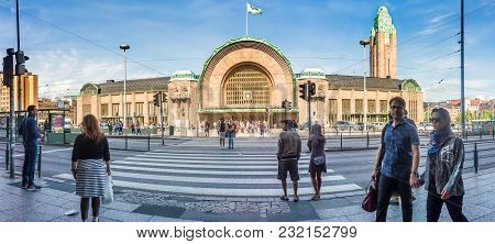 Helsinki, Finland - August 20, 2017: Building Of Central Railway Station