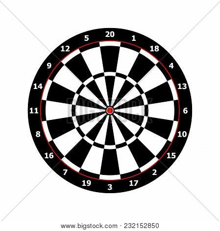 Classic Darts Board Game Template In Black And White