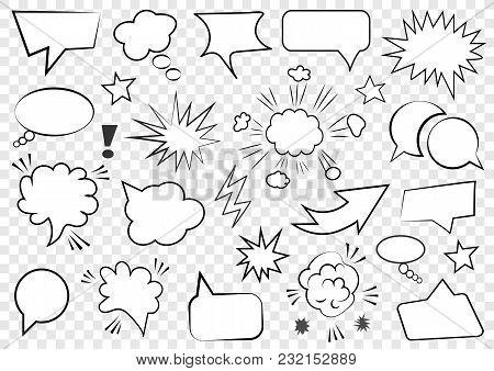 Set Of Speech Bubbles. Set Of Blank Template In Pop Art Style. Vector Illustration