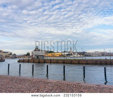 Panorama Of The City In The South Port Of Helsinki, Finland