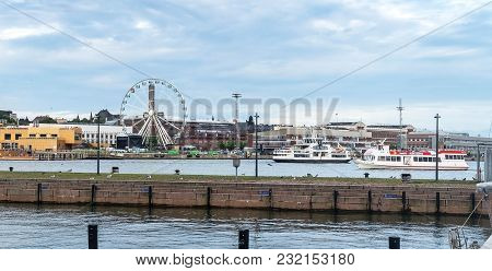 Helsinki, Finland - August 20, 2017: Sky Wheel And Boats In The Port Of Helsinki, Finland