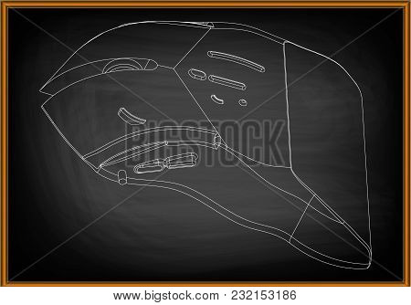 3d Model Of A Mouse On A Black Background. Drawing