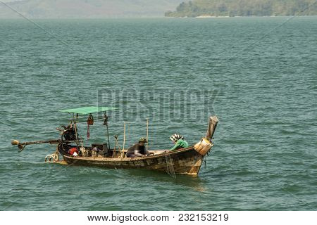 Phang Nga Bay Looks Like Local Fisherman Boat In Its Daily Job Thailand
