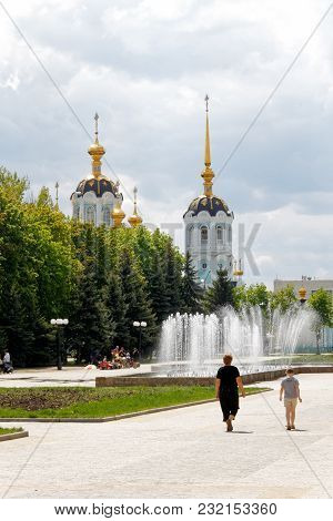Orthodox Temple Of Saint Alexander In City Kharkiv (ukraine). Temple In A Bright Sunny Summer Day On