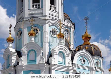 Detail View Of The Orthodox Temple Of Saint Alexander In City Kharkiv (ukraine). Temple In A Bright