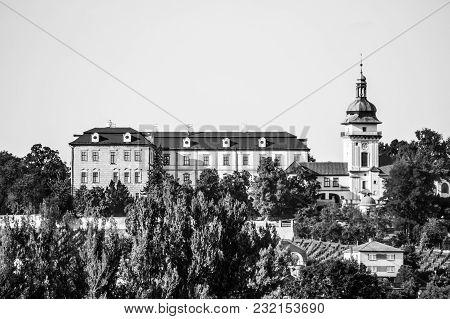 Benatky Nad Jizerou Castle In Central Bohemia, Czech Republic. Black And White Image.