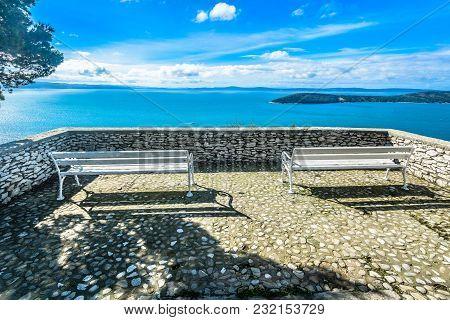 Scenic View At Idyllic Landscape In Split, Marjan Hill, European Travel Destination.