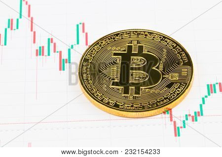Bitcoin. Gold Bitcoin On The Background Of The Chart.
