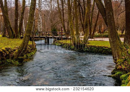 The Beautiful River Bosna Flowing Through The Famous Park Vrelo Bosne
