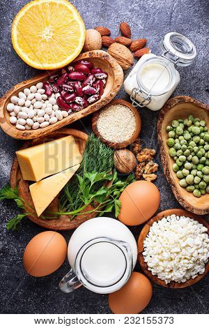Set Of Food That Is Rich In Calcium.  Top View