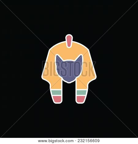 Egyptian God Icon In Cartoon Style. Egyptian God Object Vector Illustration Isolated On Black Backgr