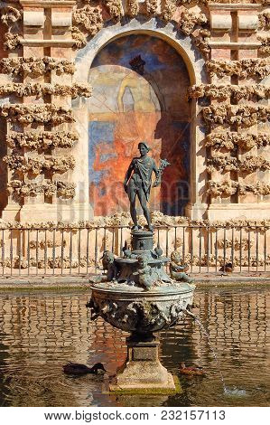 The Figure Of The God Mercury In One Of The Ponds Of The Royal Palace (real Alcazar) - Seville, Anda